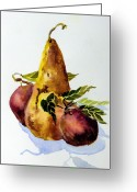 Health Drawings Greeting Cards - Pear and Apples Greeting Card by Mindy Newman