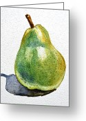 Market Greeting Cards - Pear Greeting Card by Irina Sztukowski