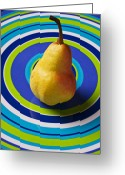 Plates Greeting Cards - Pear on plate with circles Greeting Card by Garry Gay