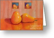 Two Pears Greeting Cards - Pear Reflections Greeting Card by Dessie Durham
