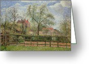 Pointillist Painting Greeting Cards - Pear Trees and Flowers at Eragny Greeting Card by Camille Pissarro