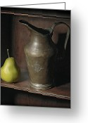 Pear Pyrography Greeting Cards - Pear With Water Jug Greeting Card by Krasimir Tolev
