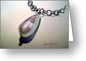 Shine Greeting Cards - Pearl Greeting Card by Irina Sztukowski