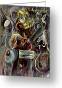 Jamming Painting Greeting Cards - Pearl Jam Greeting Card by Ikahl Beckford