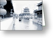 Far East Greeting Cards - Pearl Stream River Blues - Zhujiajiao near Shanghai Greeting Card by Christine Till