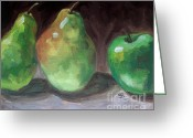 Two Pears Greeting Cards - Pears and Apple Greeting Card by Samantha Black