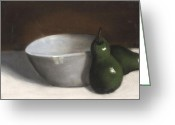 Originals Pastels Greeting Cards - Pears and Bowl Greeting Card by L Cooper