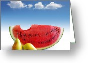 Watermelon Greeting Cards - Pears and Melon Greeting Card by Carlos Caetano