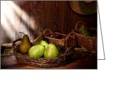 Wicker Basket Greeting Cards - Pears at the Old Farm Market Greeting Card by Olivier Le Queinec