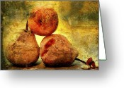 Scrub Greeting Cards - Pears Greeting Card by Bernard Jaubert