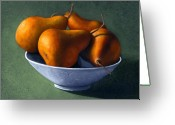 Realism Greeting Cards - Pears in Blue Bowl Greeting Card by Frank Wilson