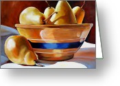 Kitchen Ware Greeting Cards - Pears in Yelloware Greeting Card by Toni Grote