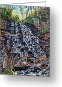 Carolina Painting Greeting Cards - Pearsons Falls Greeting Card by Micah Mullen