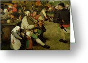 Villagers Greeting Cards - Peasant Dance Greeting Card by Pieter the Elder Bruegel