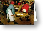 Waiter Greeting Cards - Peasant Wedding Greeting Card by Pieter the Elder Bruegel
