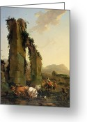 Shepherdess Painting Greeting Cards - Peasants with Cattle by a Ruined Aqueduct Greeting Card by Nicolaes Pietersz Berchem