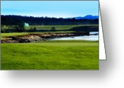 Lyle  Huisken Greeting Cards - Pebble Beach Golf Links No 18 Greeting Card by Lyle  Huisken