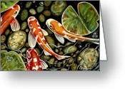 Outdoors Pastels Greeting Cards - Pebbles and Koi Greeting Card by Elizabeth Robinette Tyndall