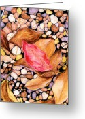 Red Leaves Pastels Greeting Cards - Pebbles and Leaves Greeting Card by Jan Amiss