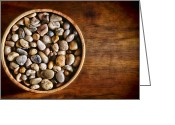 Soft Grunge Greeting Cards - Pebbles in Wood Bowl Greeting Card by Olivier Le Queinec