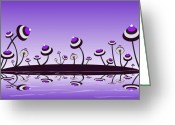 Violet Prints Greeting Cards - Peculiar Mushrooms Greeting Card by Anastasiya Malakhova
