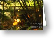 College Campus Greeting Cards - Pedestrian Bridge And Strawberry Creek  . 7D10132 . Painterly Greeting Card by Wingsdomain Art and Photography
