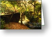 College Campus Greeting Cards - Pedestrian Bridge At Strawberry Creek  . 7D10152 . Painterly Greeting Card by Wingsdomain Art and Photography