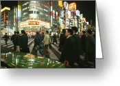 City Streets Greeting Cards - Pedestrians Cross A Crowded Tokyo Greeting Card by Justin Guariglia