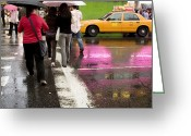 Manhattan Street Scenes Greeting Cards - Pedestrians In A Times Square Crosswalk Greeting Card by Ira Block