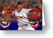 Red Sox Drawings Greeting Cards - Pedro Martinez Greeting Card by Dave Olsen