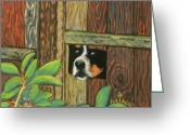 Plants Pastels Greeting Cards - Peek-a-boo Fence Greeting Card by Minaz Jantz