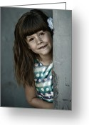 Kid Photo Greeting Cards - Peek-a-boo Greeting Card by Matt Dobson