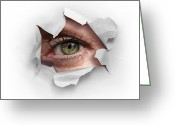Featured Greeting Cards - Peek Through a Hole Greeting Card by Carlos Caetano