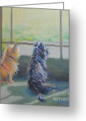 Cairn Terrier Greeting Cards - Peeking Greeting Card by Kimberly Santini