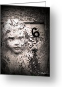 White Digital Art Greeting Cards - Peeling Paint Number 6 Greeting Card by Melissa Wyatt