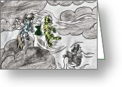 Sky.  Clouds Drawings Greeting Cards - Pegasus in Clouds Greeting Card by April McCallum
