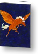 Conformist Greeting Cards - Pegasus In Flight Greeting Card by Gail Daley