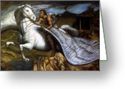 Messenger Greeting Cards - Pegasus Greeting Card by Jane Whiting Chrzanoska