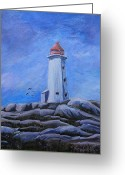 Cal Kimola Greeting Cards - Peggys Cove Greeting Card by Cal Kimola