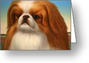 Brown Eyes Greeting Cards - Pekingese Greeting Card by James W Johnson