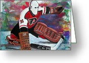 Hockey Painting Greeting Cards - Pelle Lindbergh Greeting Card by Steve Benton