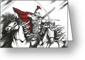 Battle Drawings Greeting Cards - Pen and Ink drawing of Soldier with Horses Greeting Card by Mario  Perez