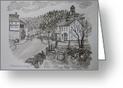 Battle Drawings Greeting Cards - Pen and Ink-Llanarthne Village-Emlyn Arms Pub-01 Greeting Card by Pat Bullen-Whatling