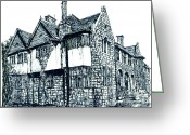 Framed Drawings Greeting Cards - Pen and Ink stone house  Greeting Card by Lee-Ann Adendorff