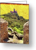 Pena Greeting Cards - Pena Palace Greeting Card by Nigel Fletcher-Jones
