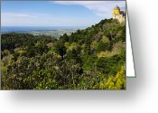 Pena Greeting Cards - Pena Palace Panorama Greeting Card by Carlos Caetano