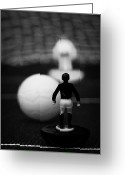 Old English Game Greeting Cards - Penalty Kick Football Soccer Scene Reinacted With Subbuteo Table Top Football Players Game Greeting Card by Joe Fox