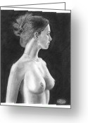 Exhibition Drawings Greeting Cards - Pencil Drawing Classic Nude Woman www.olgabell.ca Greeting Card by Olga Bell