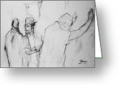 Western Pencil Drawing Greeting Cards - Pencil of Wailing Wall - Israel Greeting Card by Bruce Shane