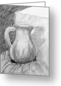 Jugs Greeting Cards - Pencil Pitcher Greeting Card by Jamie Frier